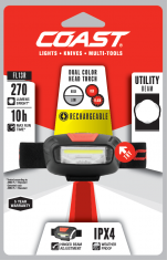 Coast FL13R rechargeable headlamp red and white light inc.2xLi-ion
